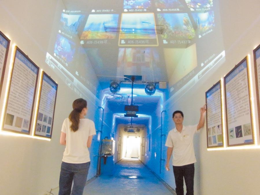 北港鎮「礫間接觸曝氣氧化廠」地下觀察廊極具特色。(張朝欣攝)