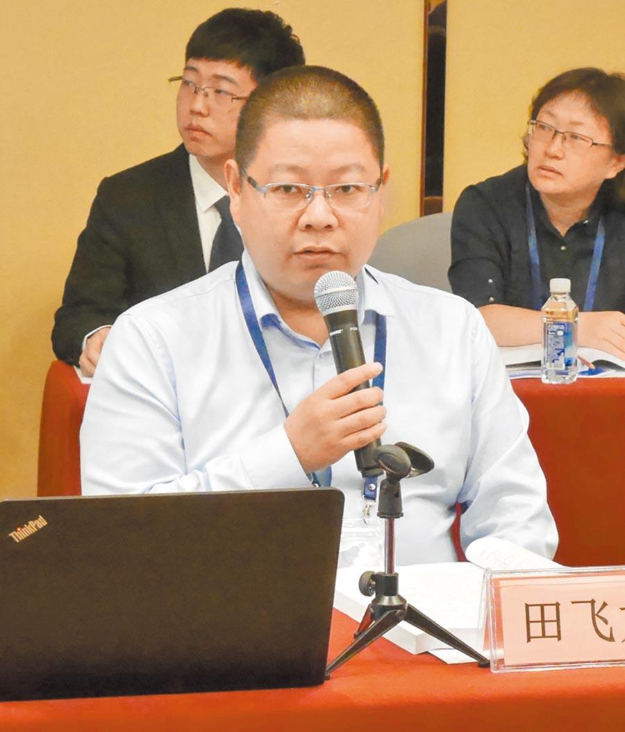 北京航空航天大學一國兩制法律研究中心執行主任田飛龍,23日針對兩岸關係提出「主場統一、以我為主」的構想。(記者陳君碩攝)