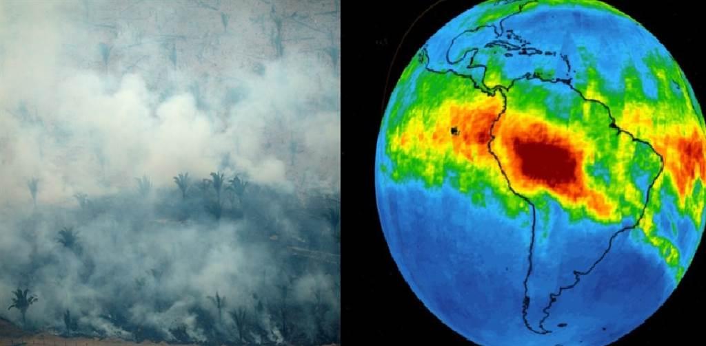 亞馬遜雨林大火,在太空都看的到。(圖/路透社、JPL)