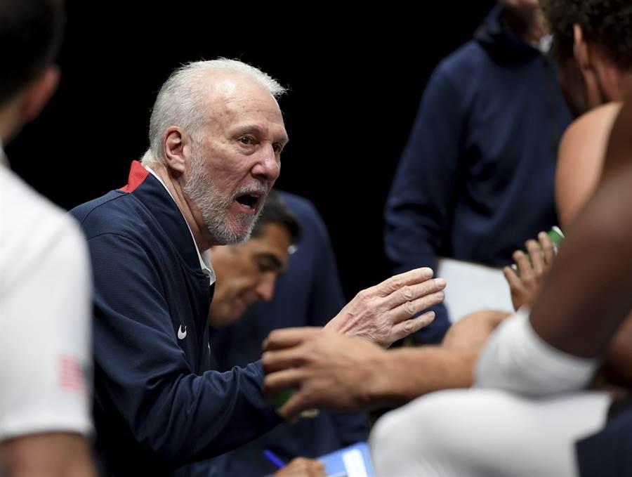 美國男籃總教練帕波維奇強調這次熱身賽的輸球,代表沒有人能夠永遠贏球。(美聯社)