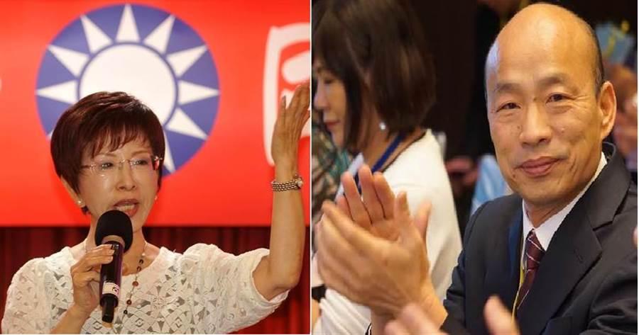 前國民黨黨主席洪秀柱(左)、國民黨2020總統大選提名人、高雄市長韓國瑜(右)。(圖/本報資料照)