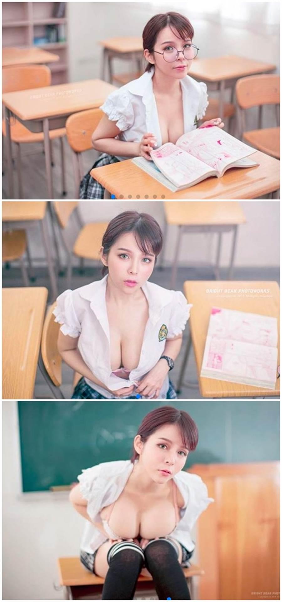 制服的诱惑!她羞问「来当我的同学好吗」。(图/翻摄自陈香菱IG)
