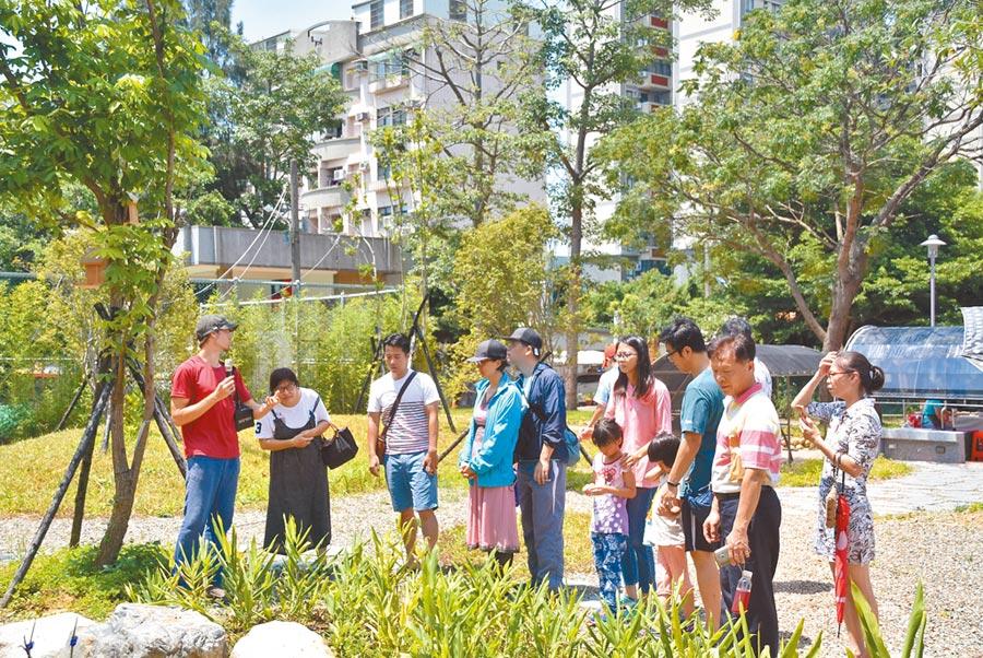 新竹市食物森林示範地建置後,社區長輩不僅多了1個可以活動的空間、孩子多了1個戶外教室,城市的昆蟲動物也多了1個家。(新竹市政府提供)