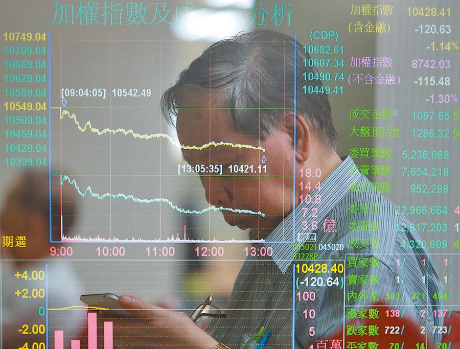 貿易戰疑慮蔓延美股下挫,台北股市26日開盤恐承壓,圖為投資人低頭看手機,思索大盤未來走勢。(本報系資料照片)