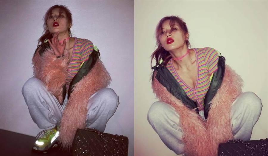 泫雅也曾穿過同款上衣。(圖/翻攝自微博@女明星私服)