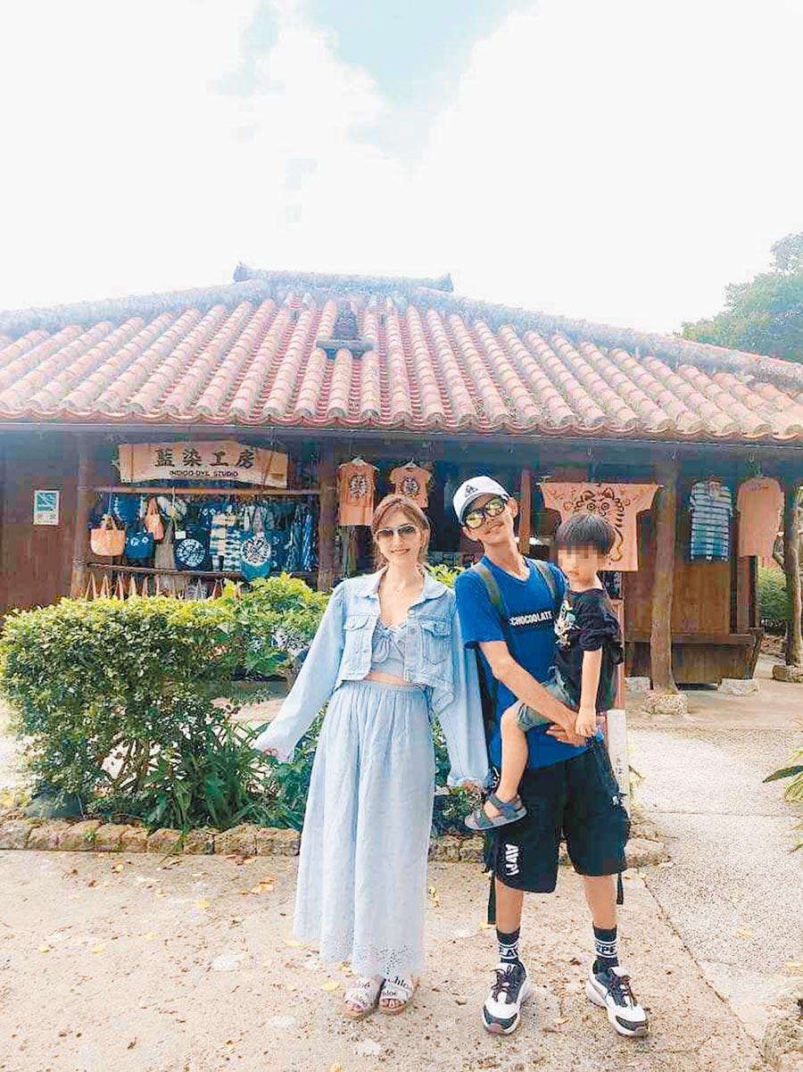 Grace(左)昨在臉書貼出與老公阿翔帶兒子一起出遊照片。(取材自臉書)