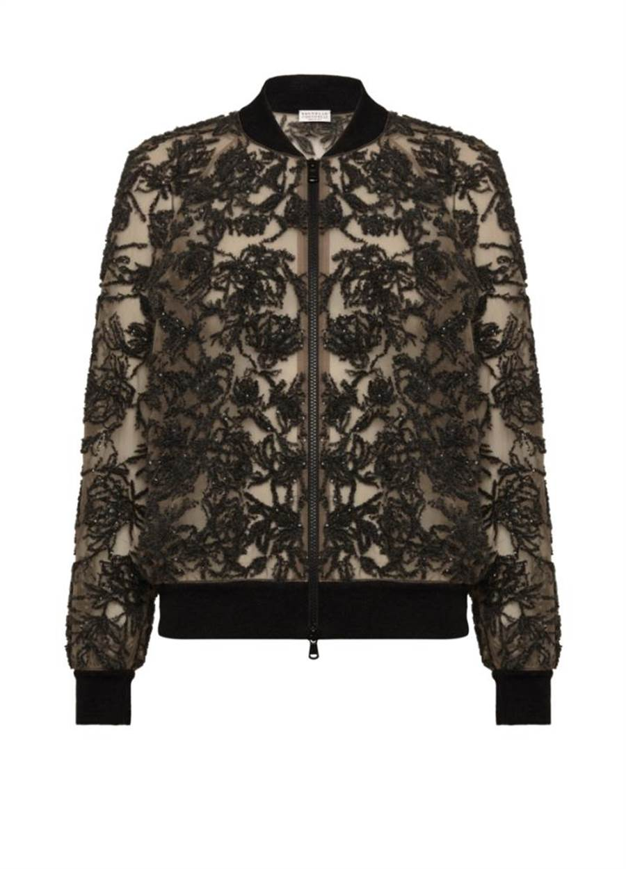 Brunello Cucinelli透明絲紗刺繡花紋絲絨,展現織品布料的工藝實力,15萬6200元。(Brunello Cucinelli提供)