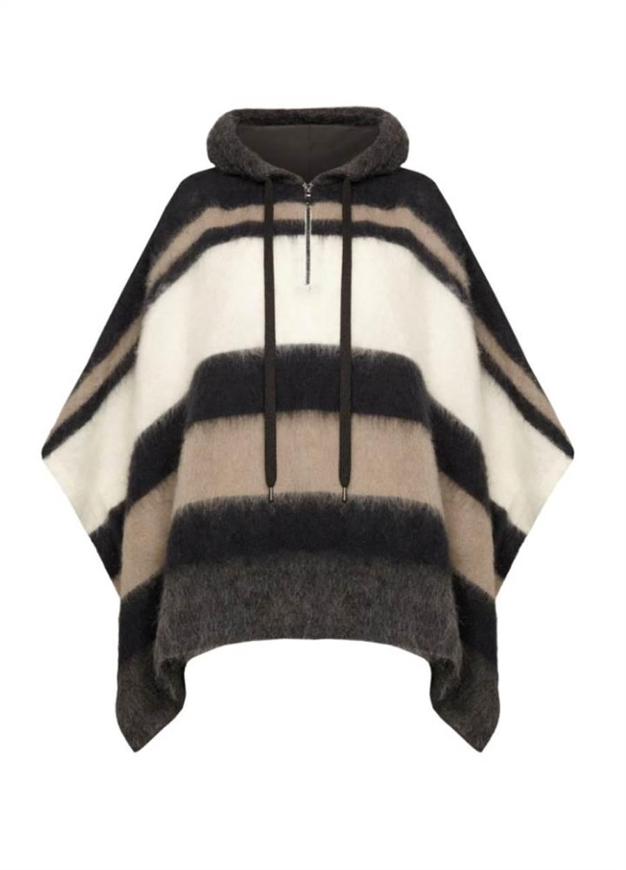 Brunello Cucinelli 連帽條紋斗篷羊絨針衣 ,9萬400元。(Brunello Cucinelli提供)