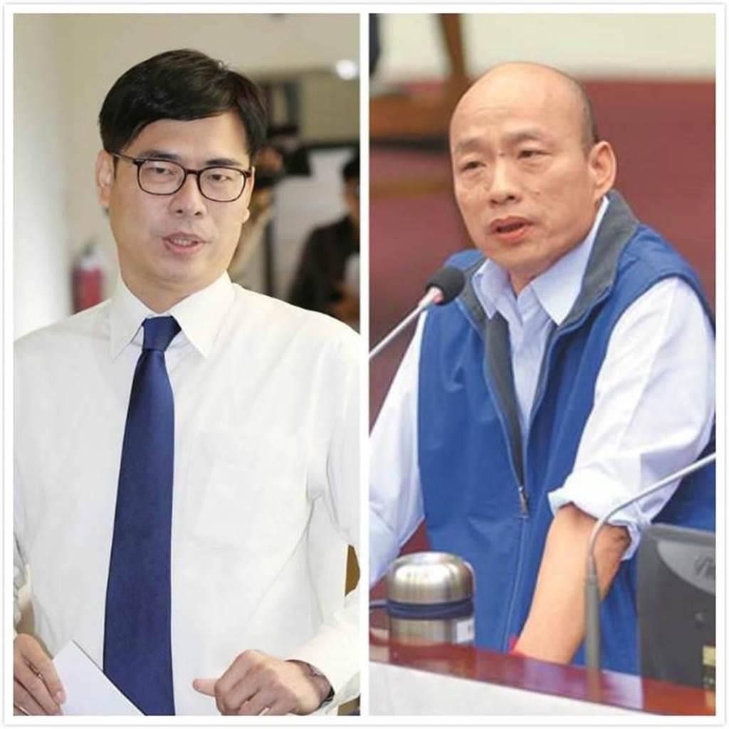 行政院副院長陳其邁(左)、國民黨2020總統選舉提名人韓國瑜(右)。(圖/合成圖,本報資料照)