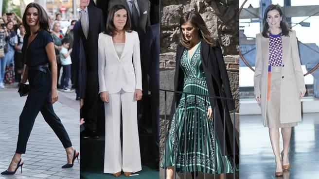 萊蒂西亞在嫁入皇室之前曾是一名新聞主播,所以穿搭風格總給人一種幹練精明的感覺。(圖/達志影像)