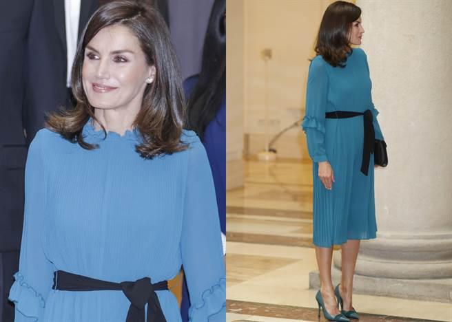 萊蒂西亞身上的水藍色雪紡洋裝只要台幣約600元左右,價格親民,絕對是小資族的最愛。(圖/達志影像)