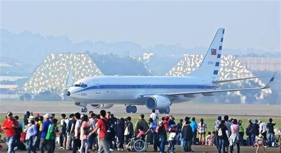 空軍行政專機,俗稱空軍一號。中時資料照,張鎧乙攝。