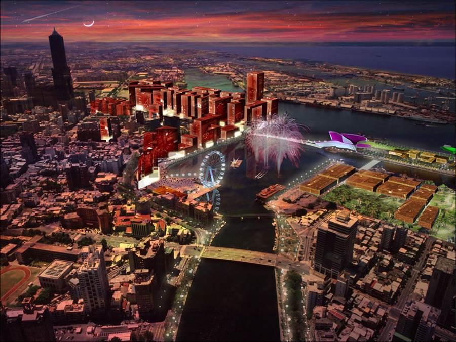 2006年11月17日,市府於漢來飯店舉辦「高雄港區1-22號碼頭水岸改造策略規畫」國際評審結果頒獎典禮暨研討會上,就有張模擬圖顯示在水岸邊樹立1座摩天輪。(林宏聰翻攝)
