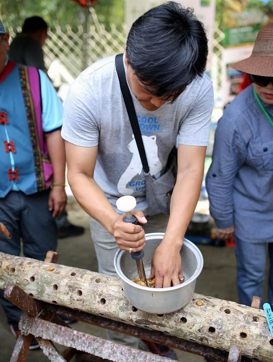 屏科大設置「森林養蜂場暨段木香菇場」人才培訓基地,教導學生及部落族人學習在森林中種植段木香菇。(潘建志攝)