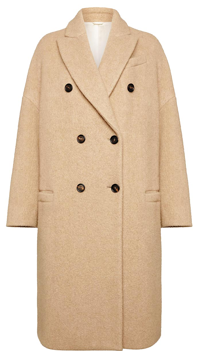 Brunello Cucinelli排釦羊絨大衣,33萬3200元。(Brunello Cucinelli提供)