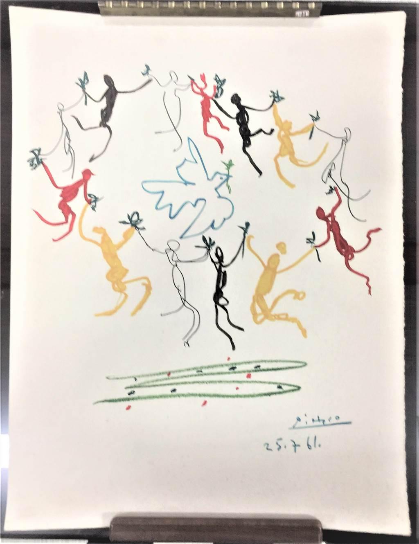 史博館收藏畢卡索石版畫《青年圈》,曾用於1962年用於芬蘭赫爾辛基「第八屆青年與學生為和平及友誼世界節慶」明信片上。(史博館提供)