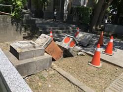 花蓮新城神社舊址石燈籠 因颱風倒塌
