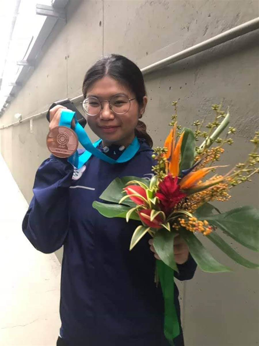 射擊女將林穎欣在巴西里約世界盃10公尺空氣步槍獲得銅牌,並且取得2020年東京奧運參賽資格。(取自中華奧會臉書)