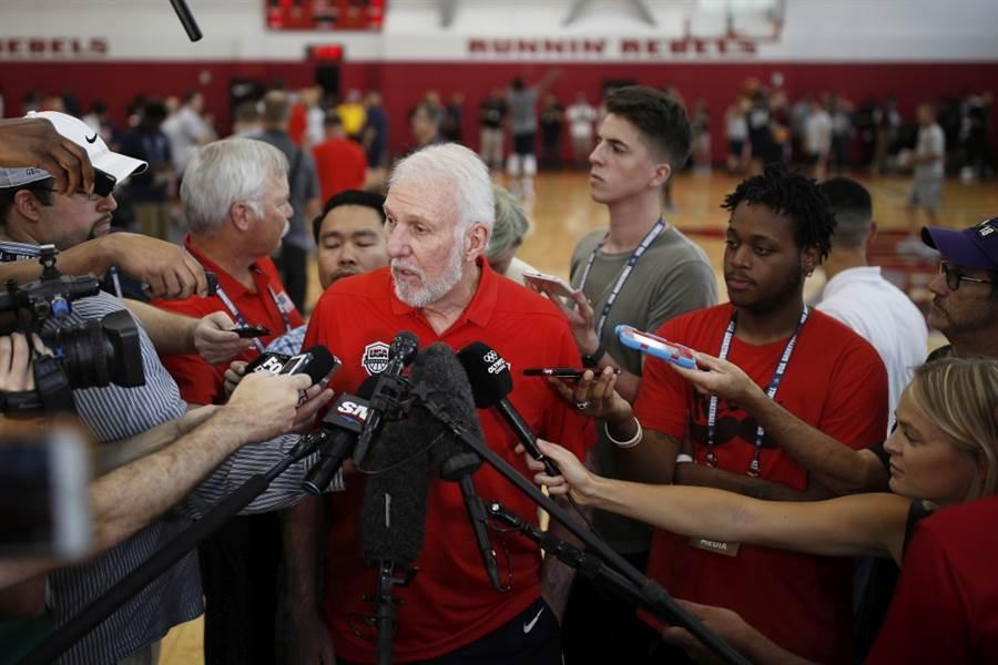 美國男籃總教練波波維奇。(美聯社資料照)