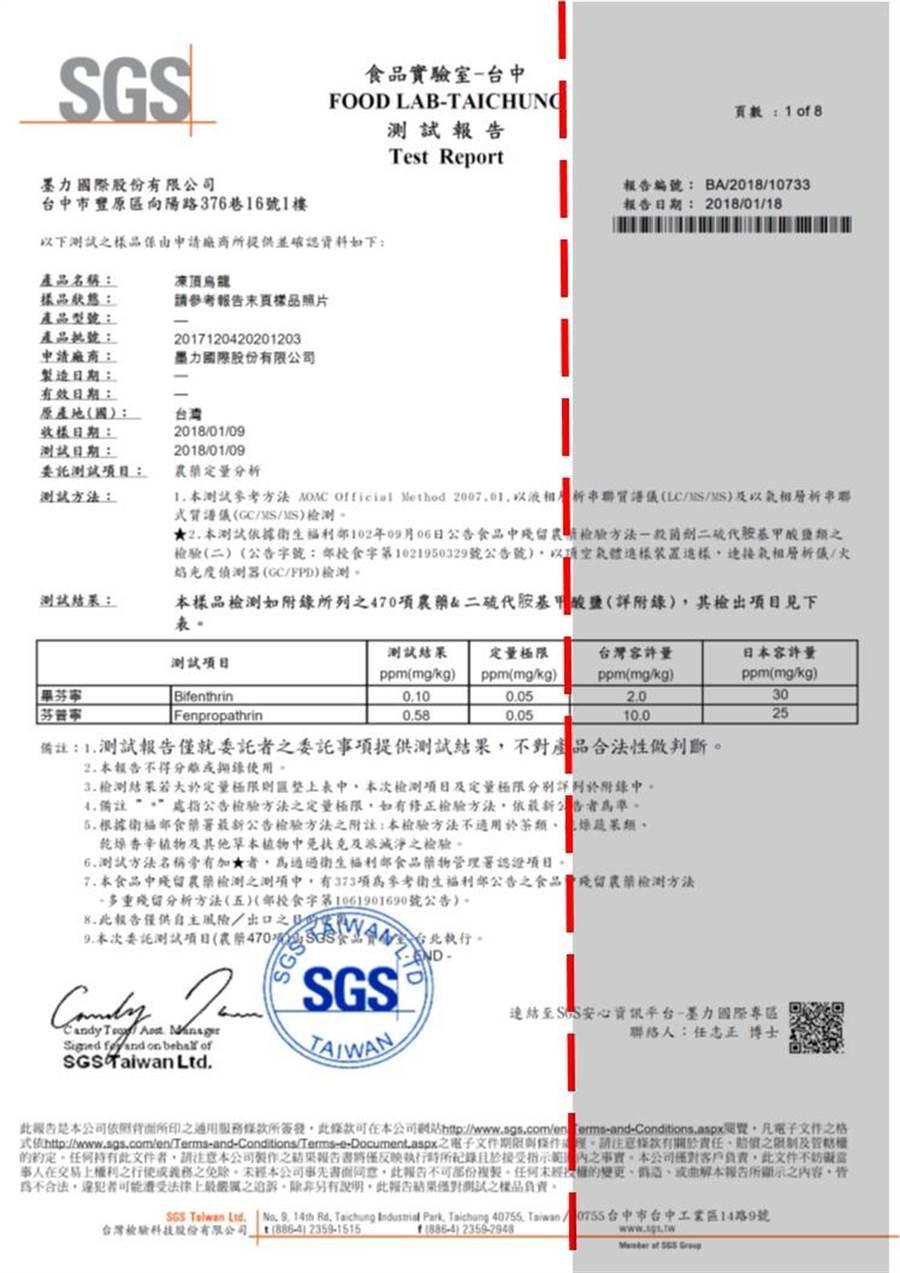 墨力国际品管经理王宏铭说明网路转传资料,遭有心人士刻意隐避黑影部分的关键检验数据。(王文吉翻摄)