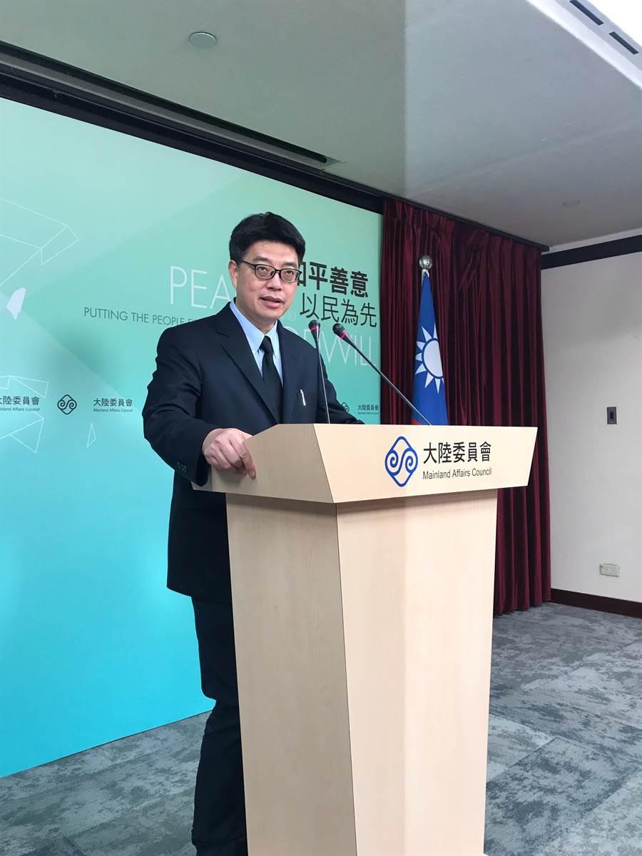 陸委會發言人邱垂正今在例行記者會。(記者呂佳蓉/攝)