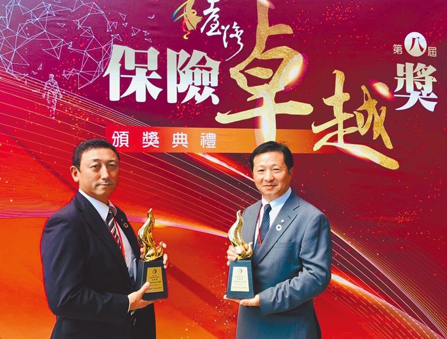 明台產險於「臺灣保險卓越獎」榮獲「保戶服務專案企畫卓越獎金質獎」及「商品創新專案企畫卓越獎金質獎」之殊榮。圖/明台提供