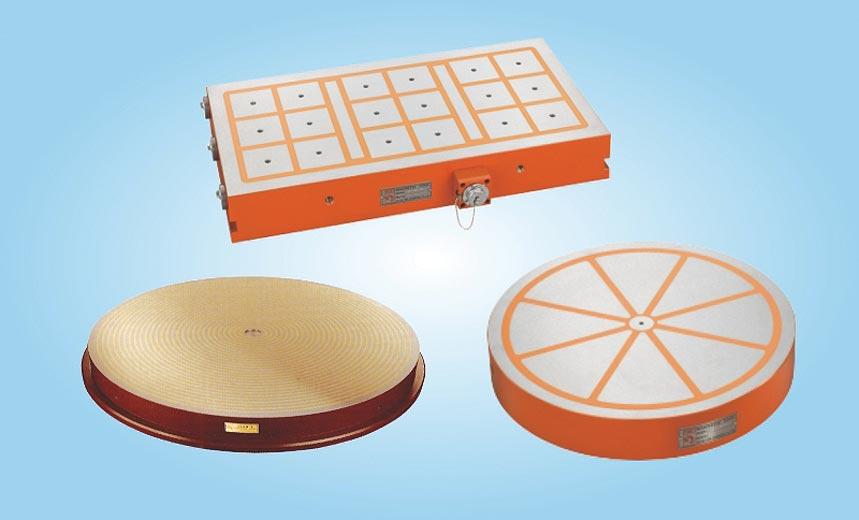 威力磁出品的各種電磁盤。圖/陳至雄