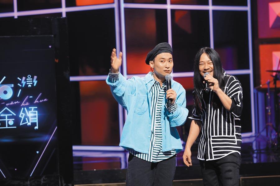 浩子(左)與好友乱彈阿翔主持《台灣金頌》,入圍綜藝節目獎與主持人獎。