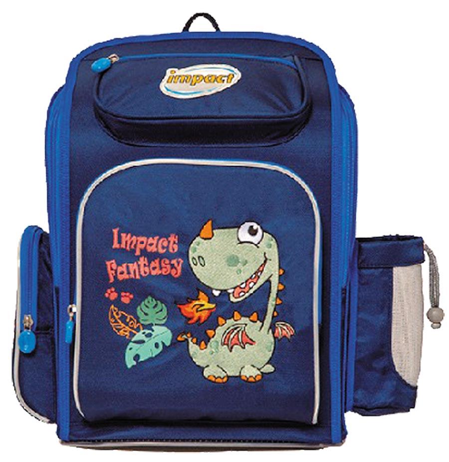 Global Mall新北中和店的Impact怡寶標準型書包─異想恐龍組合,含恐龍書包、午餐袋及哆啦杯水壺、機器人筆袋,原價4760元,組合價3190元。(Global Mall提供)