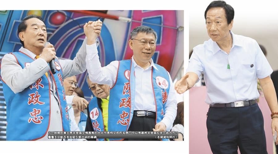 與親民黨主席宋楚瑜交情甚篤的台北市長柯文哲昨坦言,可以考慮將宋楚瑜拉來一起合作,看看手中能否多些吸引郭台銘的籌碼。(本報資料照片)