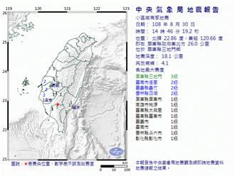 地牛輕搖 14:46屏東4.1地震 最大震度3級