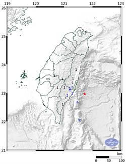15:50 台東近海規模4.7地震 最大震度3級