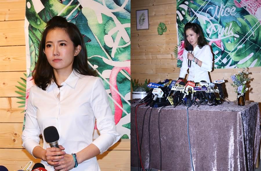 謝忻日前開道歉記者會,桌上放的花束是投資花店提供。(圖/達志影像)