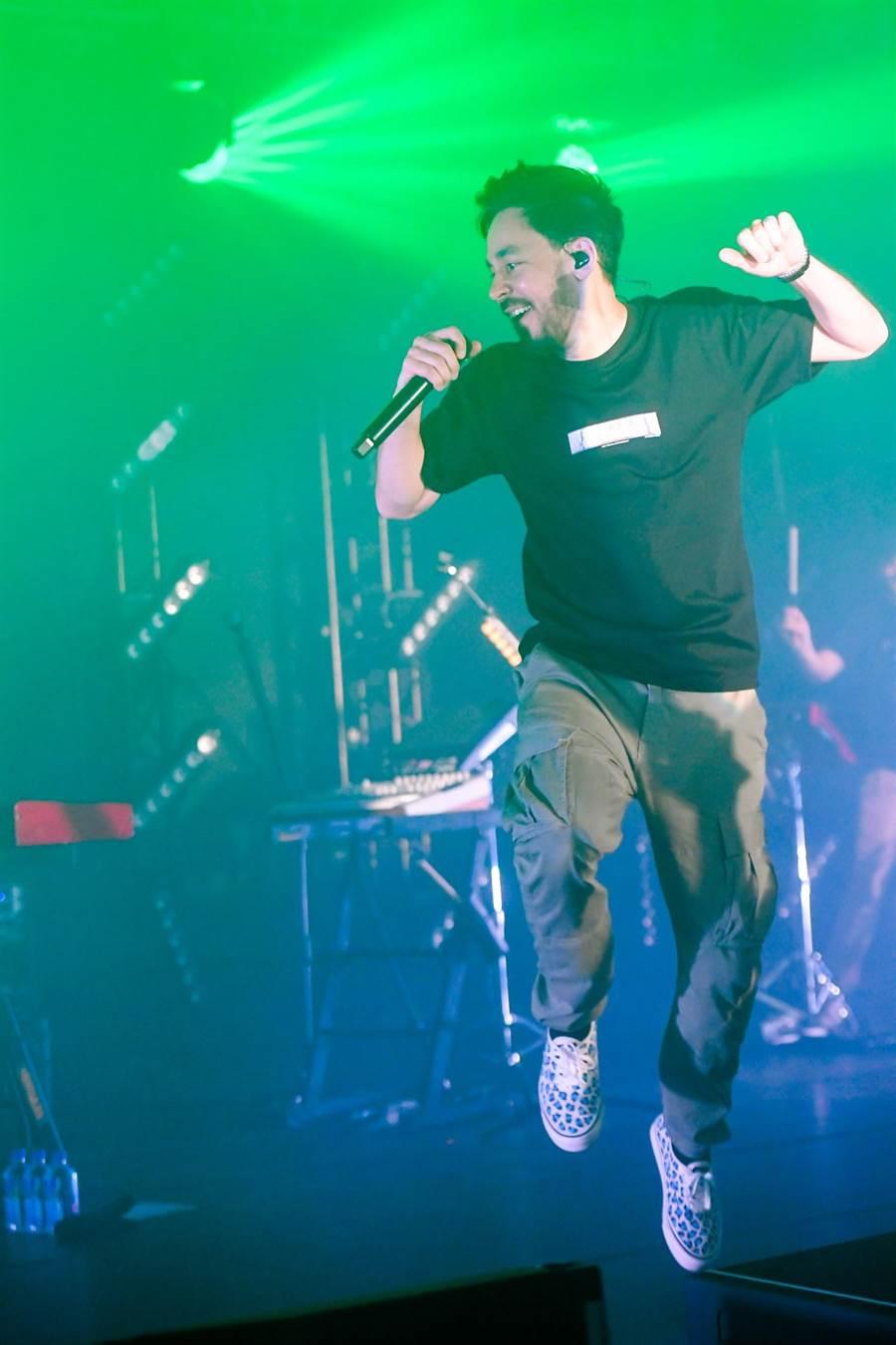 西洋天團聯合公園團員麥可篠田在台舉行個人專輯演唱會。(盧禕祺攝)