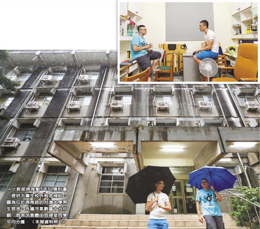 教部將推動5年50億計畫,提供大專生校外租金補貼。圖為位於濟南路的台灣大學男生宿舍,外牆冷氣數量十分壯觀。宿舍冷氣費由同寢室同學平均分攤。(本報資料照片)