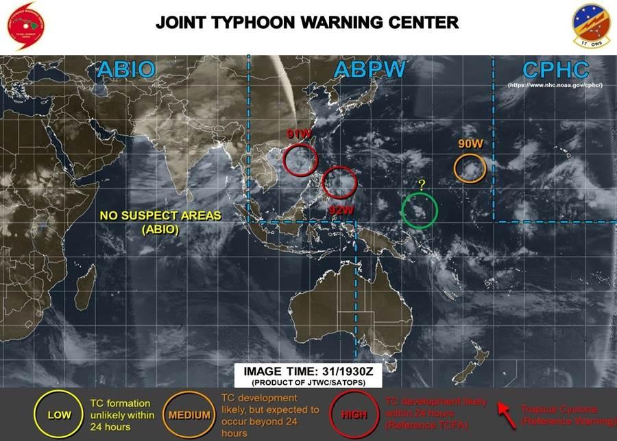 賈新興在臉書發文說,目前西北太平洋有3個熱帶擾動,照目前的劇本來看,92W牽著91W。(圖/賈新興臉書)