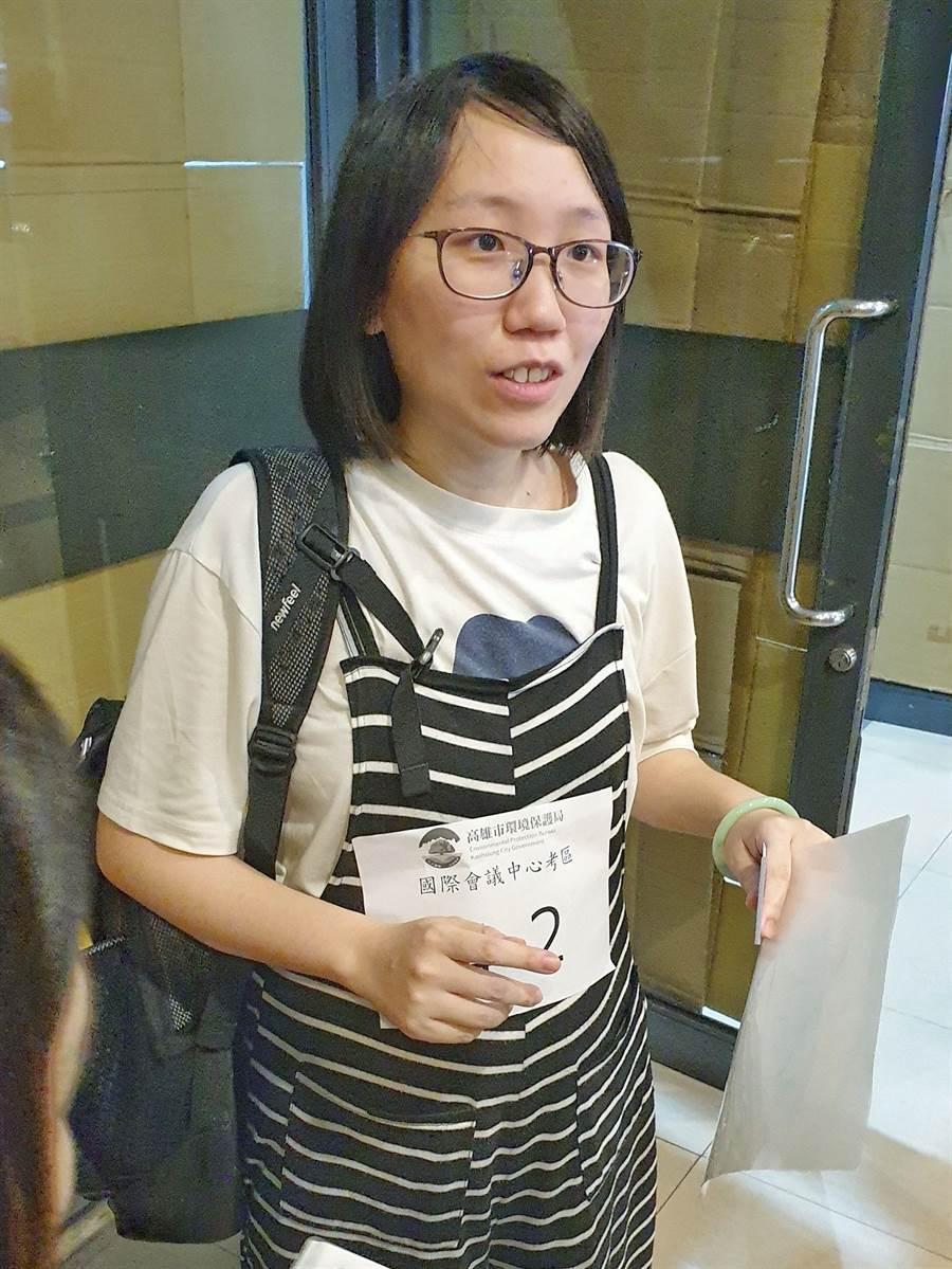 曾凱琳懷孕6個月,挺著孕肚仍身手矯健應試,希望覓得穩定工作。(袁庭堯攝)