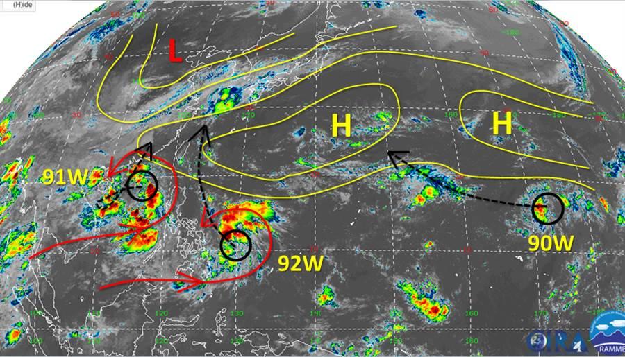 西北太平洋相當熱鬧,共有3個熱帶擾動發展中。(圖/臉書《天氣職人-吳聖宇》)