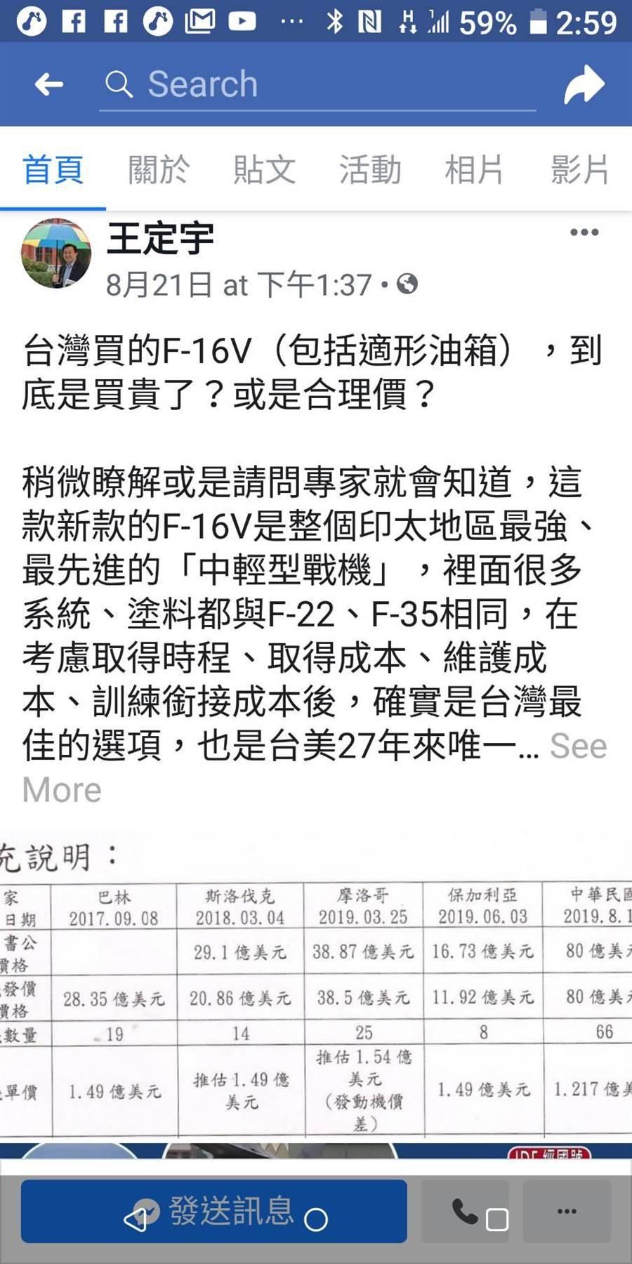 民進黨立委王定宇臉書做了一份各國採購F-16V戰機價格比較表。摘自王定宇臉書