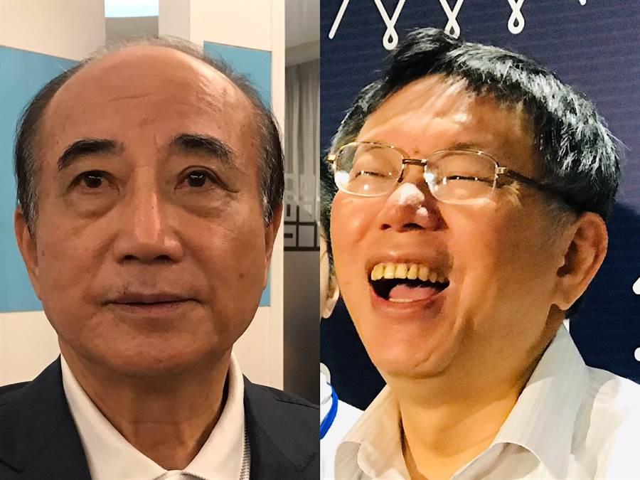 立委王金平(左)他和台北市長柯文哲(右)。(張穎齊攝)