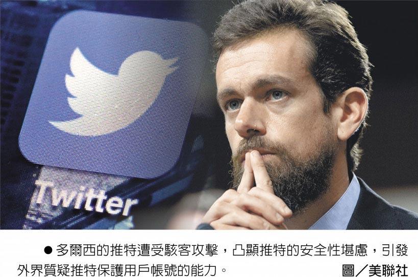 多爾西的推特遭受駭客攻擊,凸顯推特的安全性堪慮,引發外界質疑推特保護用戶帳號的能力。圖/美聯社