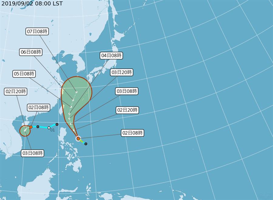 位於菲律賓東方海面之熱帶性低氣壓,於今天早上發展為第13號颱風、玲玲颱風。(中央氣象局/林良齊傳真)