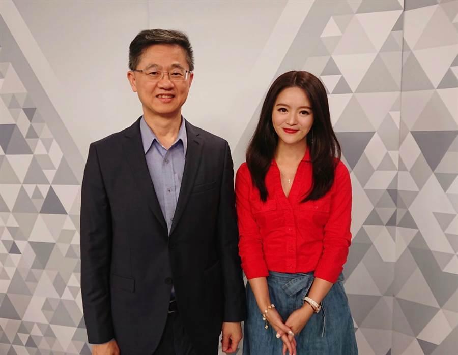 台灣運彩總經理林博泰(左)上時來運轉節目,與主持人尉遲佩玉(右)談運彩眉角。(易繼中攝)