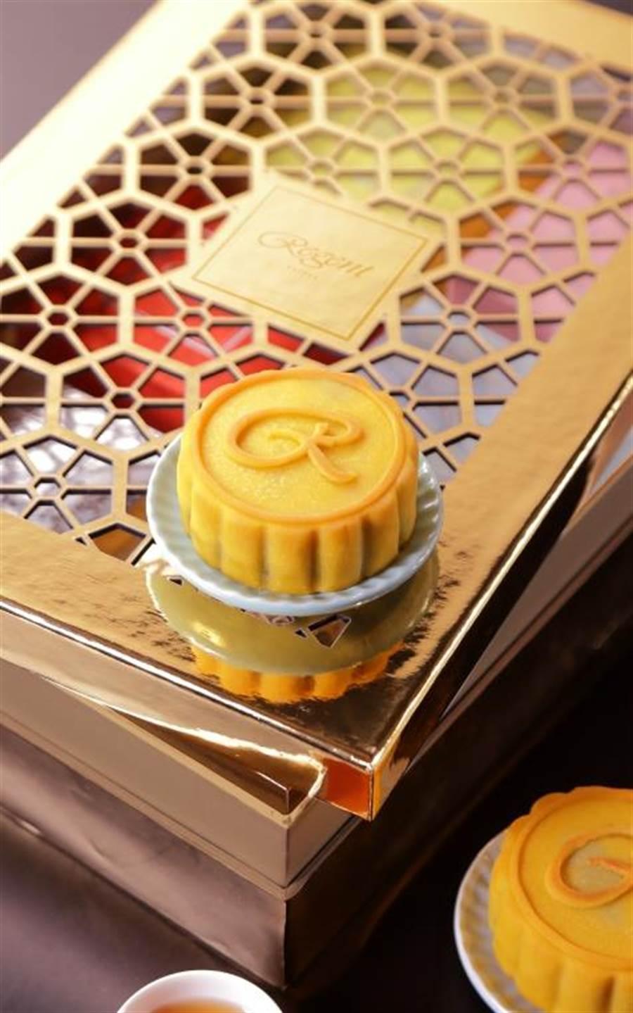遠百晶華酒店「賞月」茶.桃山月餅禮盒,6入,1280元。(遠百提供)
