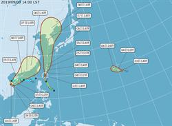 雙颱最新預測路徑 水氣明大量北上