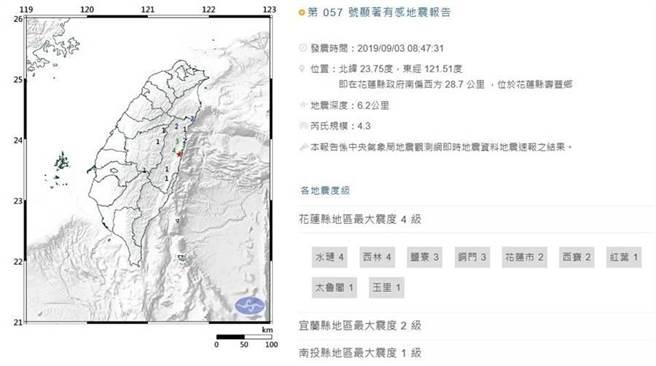 今早花蓮壽豐發生規模4.3地震。(摘自中央氣象局)