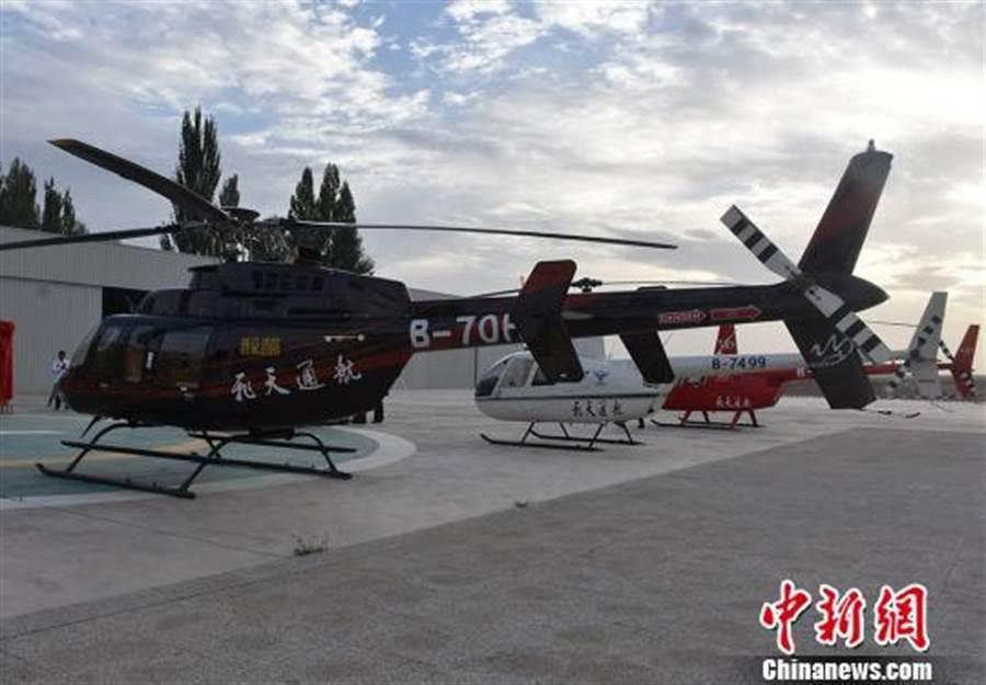 甘肅省酒泉市消防救援支隊與敦煌飛天通用航空公司合作組建消防空勤救援大隊。(照片取自中新網)