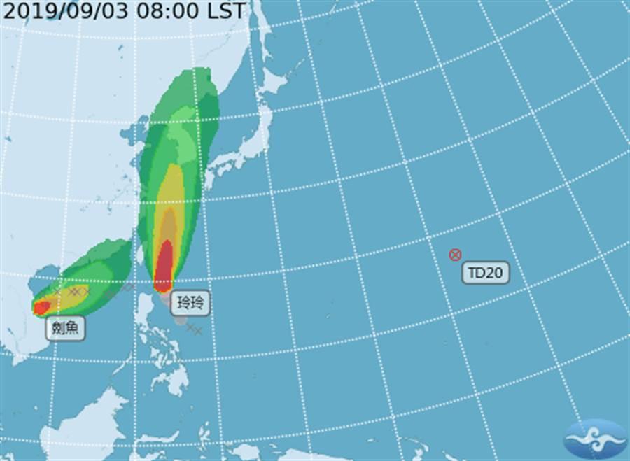 颱風玲玲、劍魚往台灣靠近。(圖/中央氣象局)