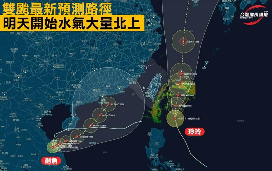 台灣颱風論壇雙颱動態說明。(圖/摘自台灣颱風論壇臉書)