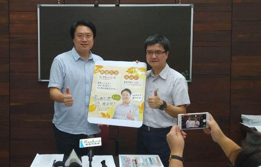 基隆市擴大國旅補助,市長林右昌(左)宣布來基隆住一晚加碼送小禮物。(許家寧攝)